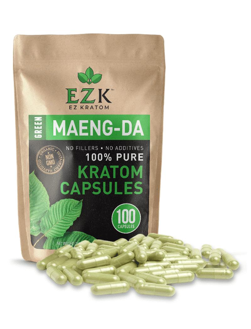 Green Maeng-Da Kratom Capsules (Size 00 or 000)