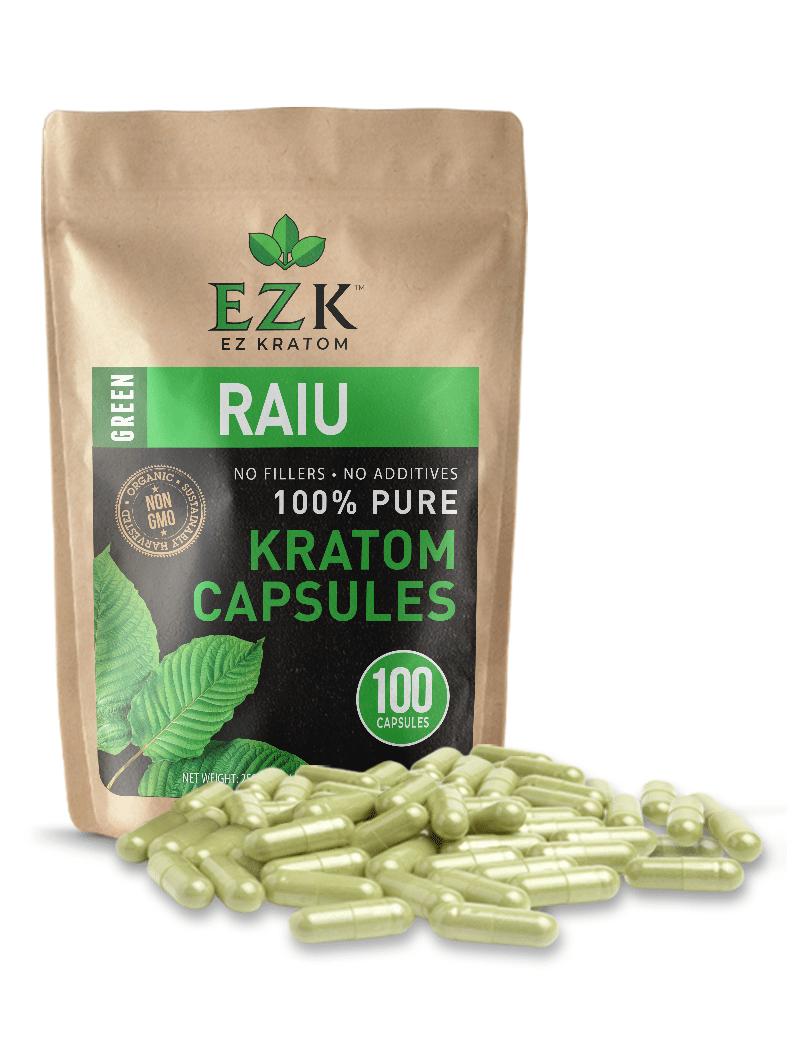 Green Raiu Kratom Capsules (Size 00 or 000)